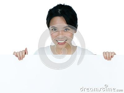 Attractive woman holding billboard
