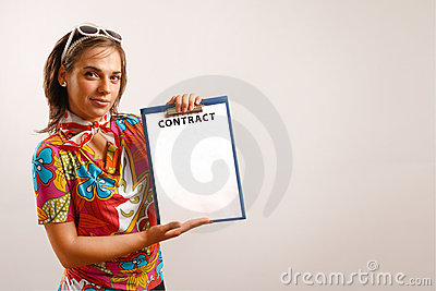Attractive woman holding a contract