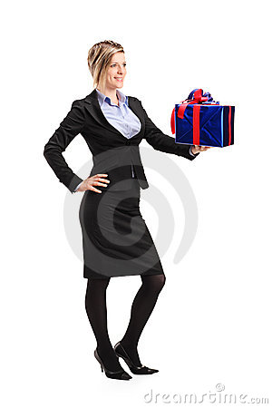 Attractive woman holding a gift
