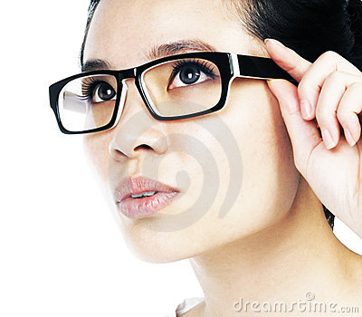 Attractive woman holding her eyeglasses