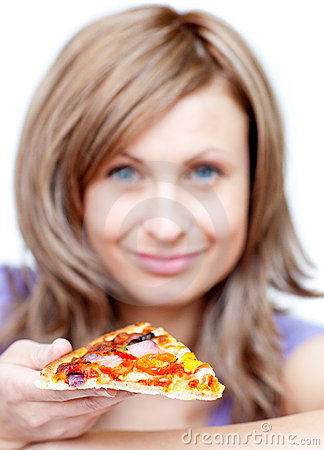 Attractive woman holding a pizza