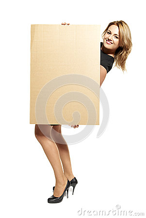Attractive Woman Holding Up a Blank Sign