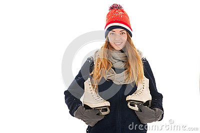 Attractive woman with ice skates