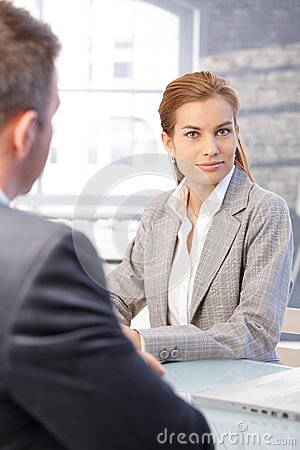 Attractive woman during job interview