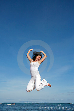 Free Attractive Woman Jumping Stock Photos - 398073