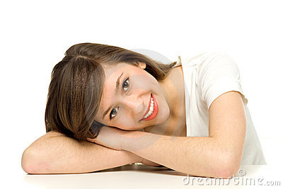Attractive woman leaning on table