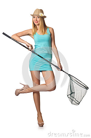 Attractive woman with net