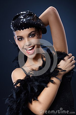 Attractive woman in party outfit
