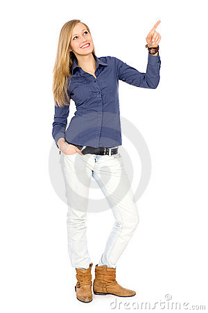 Attractive woman pointing