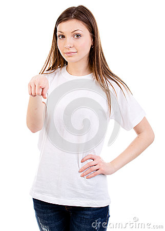 Attractive woman points to camera
