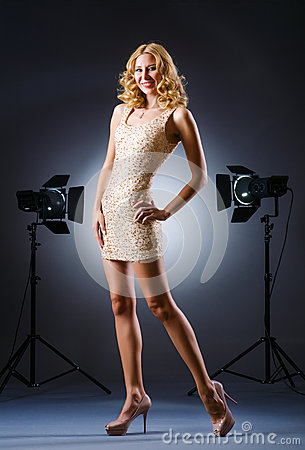 Attractive woman posing in studio