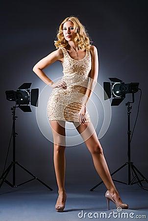 Attractive woman posing in  studio