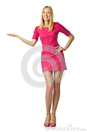 Attractive woman pressing buttons