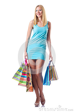 Attractive woman after  shopping