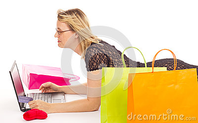 Attractive woman shopping over the internet