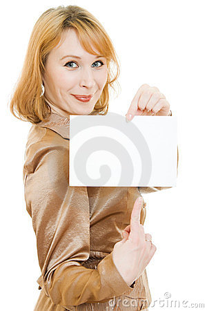Attractive  woman showing blank signboard