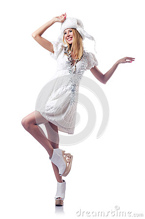 Attractive woman in skate shoes