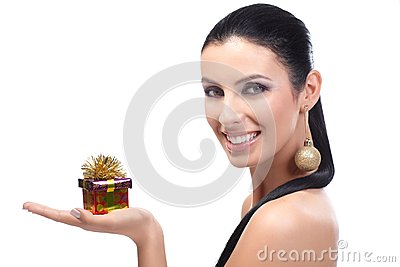 Attractive woman with small Christmas box