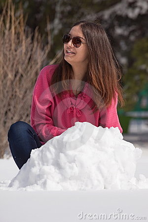 Attractive woman in snow