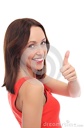 Attractive woman with thumbs up