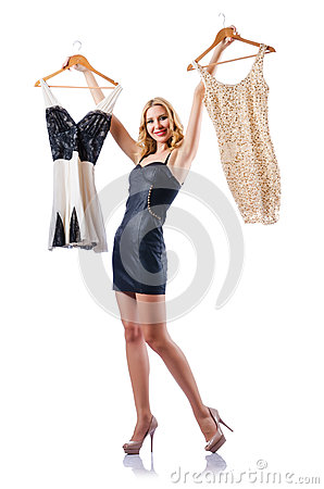 Attractive woman trying clothing on white