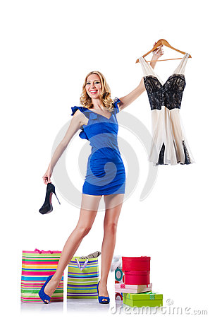 Attractive woman trying new clothing