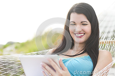 Attractive woman using a tablet