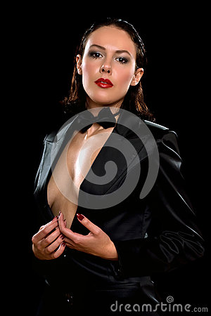 Attractive woman wearing a black suit