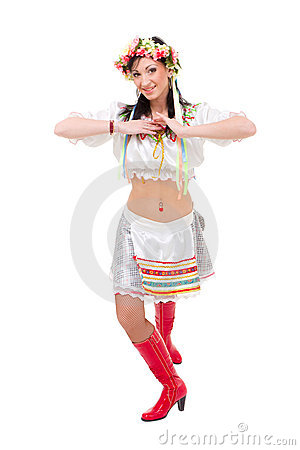 Attractive woman wearing a folk ukrainian dress