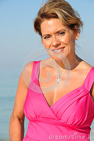 Attractive Woman Wearing A Pink Dress