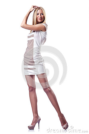 Attractive woman  on white