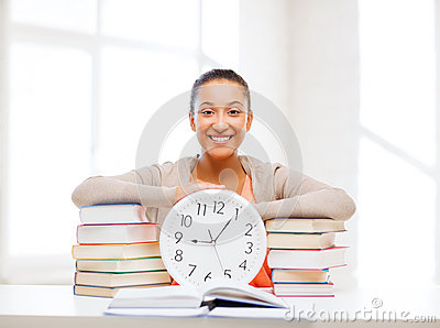 Attractive woman with white clock
