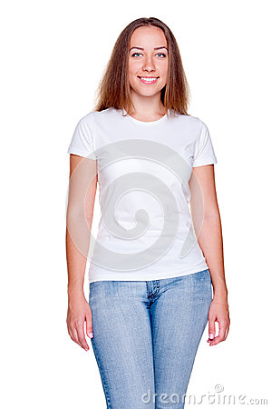 Attractive woman in white t-shirt