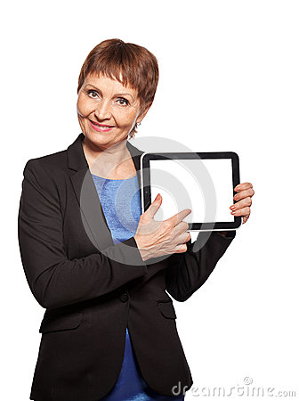 Attractive woman 50 years old with a tablet in hands