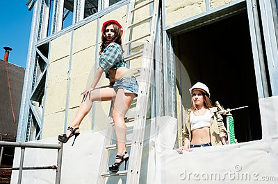 Attractive women on construction site