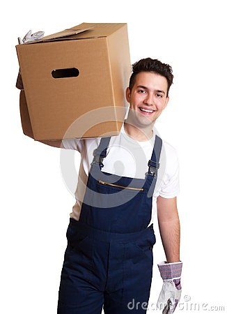 Attractive worker with a box on his shoulder