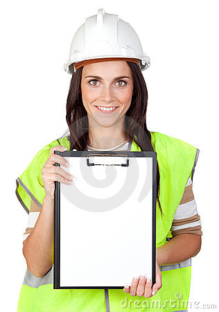 Attractive worker with reflector vest