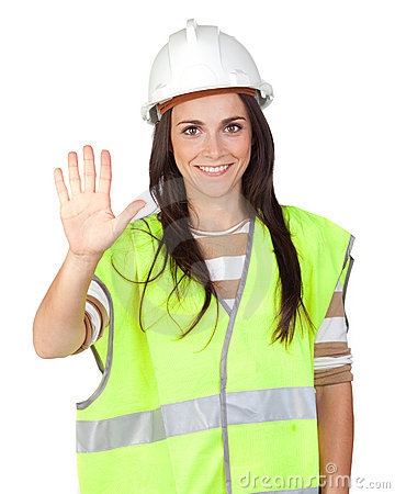 Attractive worker with reflector vest saying Stop