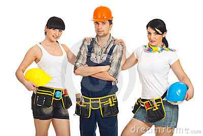 Attractive  workers women and man