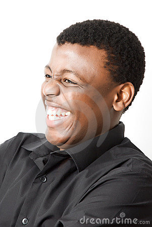 Attractive young black man laughing