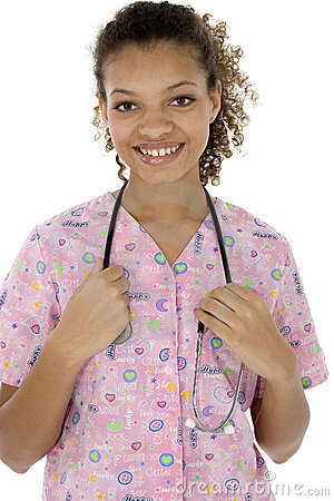 Attractive Young Black Nurse Smiling Over White