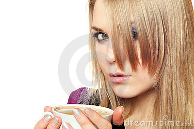 Attractive young blonde with a cup