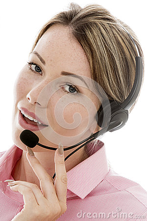 Free Attractive Young Business Woman Using A Telephone Headset Stock Images - 60599774