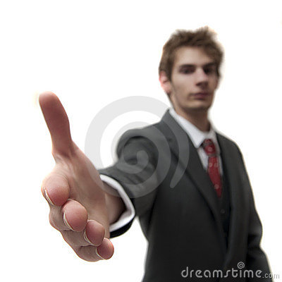 Attractive Young Businessman Greets