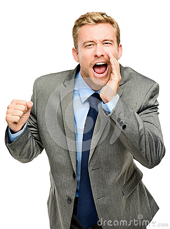 Attractive young businessman man shouting - isolated on white ba