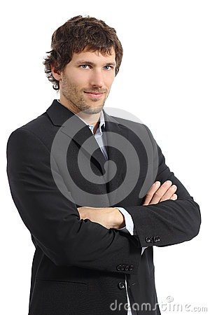 Free Attractive Young Businessman Posing With Folded Arms Royalty Free Stock Images - 35879619