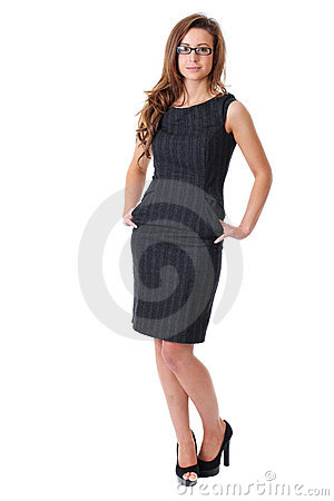 Attractive young businesswoman in elegant dress