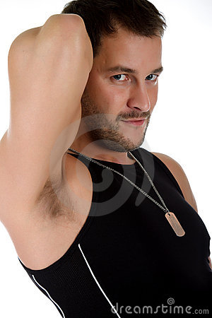 Attractive young caucasian man, biceps