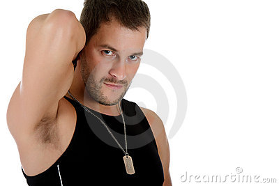 Attractive young caucasian man, triceps