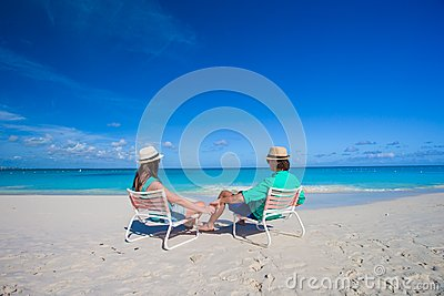 Attractive young couple enjoying summer holiday on tropical beach